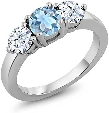 Sterling Silver Genuine Round Sky Blue Aquamarine 3-Stone Women's Ring (2.25 cttw, Available in size 5, 6, 7, 8, 9)