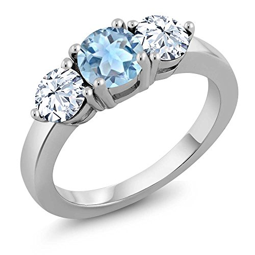 Sterling Silver Round Sky Blue Aquamarine 3-Stone Women's Ring (2.25 cttw, Available in size 5, 6, 7, 8, 9)