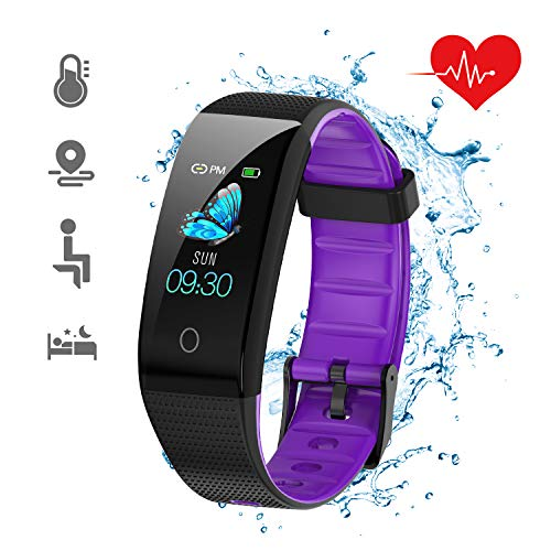 DKSPORT Fitness Tracker HR, Activity Tracker Watch with Heart Rate Monitor, IP68 Water Resistant Smart Bracelet with Sleep Monitor Calorie Counter Pedometer Watch for Kids Women and Men (Purple)