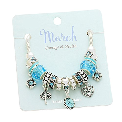 Rosemarie Collections Women's Birth Month Birthstone Glass Bead Charm Bracelet (March)