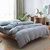 Uozzi Bedding 100% Knitted Cotton Queen Smoke Blue Stripes Duvet Cover Set (1 Jersey Knit Cotton Duvet Cover + 2 Pillow Shams) Ultra Soft Comfy Breathable Natural Material 1200 TC with 4 Corner Ties