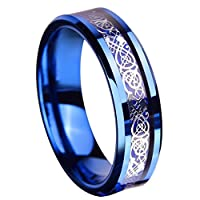 Queenwish 6MM Blue Tungsten Ring Silvering Celtic Dragon Blue Carbon Fibre Inlay Wedding Band Size 6-13
