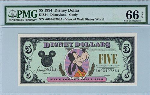 Disney Dollar 1994 Goofy $5 A00340786A PMG 66 EPQ Gem Unc ()