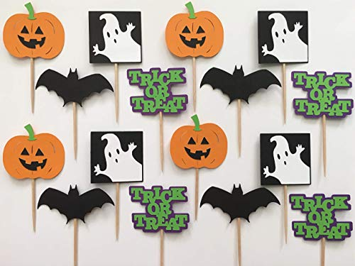 Pumpkin Trick or Treat Bat and Ghost Halloween Cupcake Toppers - Party Supplies | Set of 16 -