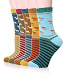 Color City Women's Vintage Style Thick Cotton Warm Winter Socks 5-pack (Horse)