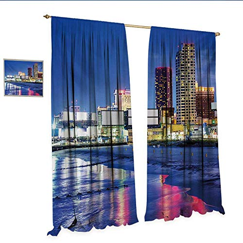 WinfreyDecor City Customized Curtains Resort Casinos on Shore at Night Atlantic City New Jersey United States Room Darkening Wide Curtains W84 x L108 Violet Blue Pink Yellow.jpg (Soho New Jersey)