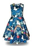 Minilove Gilrs Unicorn Rainbow Dress(6,Navy)