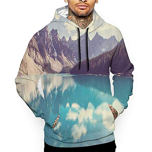 - Unisex 3D Novelty Hoodies House Decor,Cherry Blossom with Clear Sky Sunny Day View Country Road Garden Spring Landscape,Fuchsia Blue,Oversized Sweatshirts for Women
