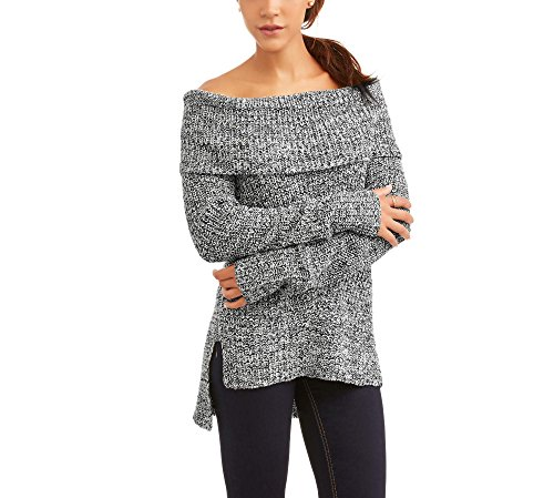 Faded Glory Women's Marilyn Off The Shoulder Sweater (L, Tusk/Black Soot Comb)
