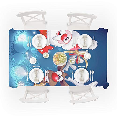 Digood Christmas Table Cloth, Xmas Snowmen Deer Washable Polyester Oblong Tablecloth Dinner Picnic Table Cloths Home Party Decoration Assorted Size, Blue (59x70 Inch)