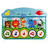 Zoo Animal Kick and Touch Musical Baby Piano Play Mat, for Crib and Floor, with flashing lights and sounds, 10 demo melodies, 2 Volume controls, 5 Large Music Keys, 3 Play modes, by Dimple