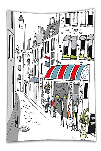 Nalahome Fleece Throw Blanket Paris Decor Drawing of a Street in Paris A Cafe and the Street Lamp Illustration Print White and - Stores Street South Philadelphia