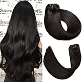 SeaShine Clip in Hair Extensions Double Weft 100% Remy Human Hair Silky Straight Grade 7A Full Head Weft Remy Hair for Women(18 Inch #1B Natural Black 7pcs 16clips 70g)