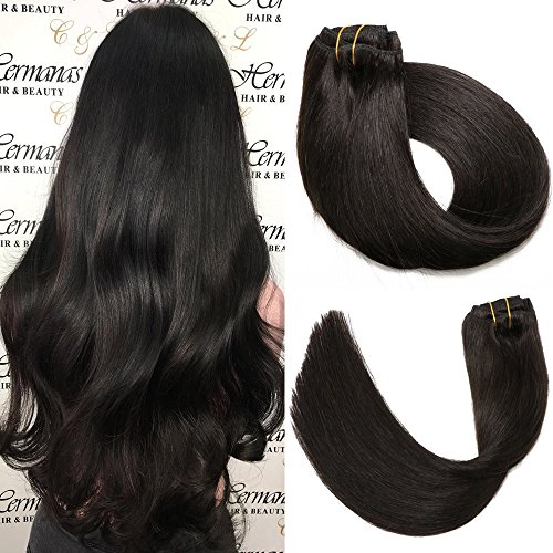 SeaShine Clip in Hair Extensions Double Weft 100% Remy Human Hair Silky  Straight Grade 7A 49045108de34