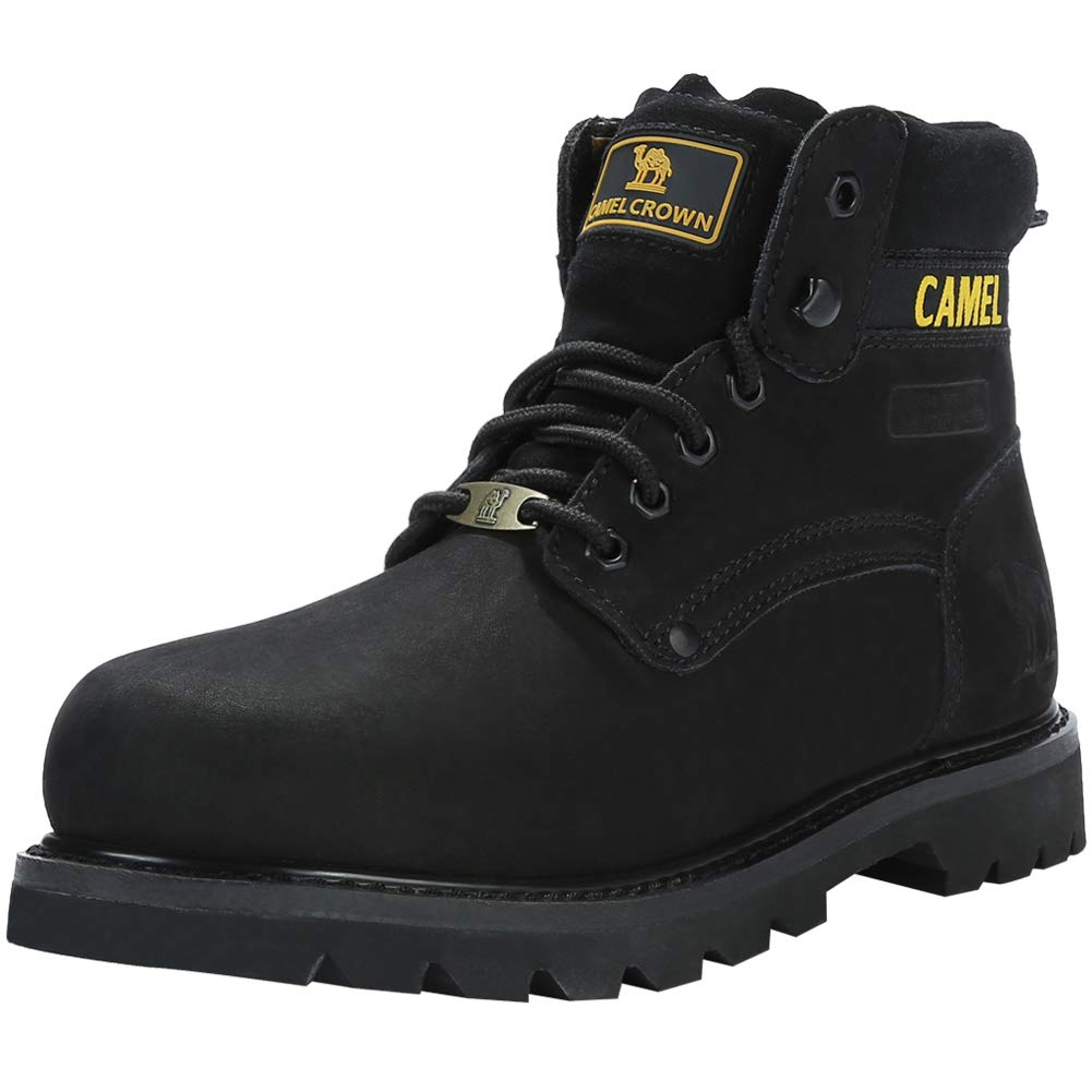 CAMEL CROWN Men's 6 Plain Soft-Toe Work Boots Premium Oil Full Grain Leather