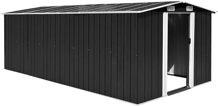 vidaXL Caseta de Jardín Metal Antracita 257x497x178cm Jardín Patio Cobertizo: Amazon.es: Bricolaje y herramientas