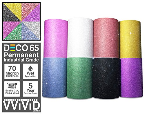 Thermal Transfer Film Roll (VViViD Glitter DECO65 8-Color Bundle Permanent Adhesive Craft Vinyl 1ft x 3ft Roll Pack for Cricut, Silhouette & Cameo Including ORACAL 1ft x 3ft Transfer Paper Roll)
