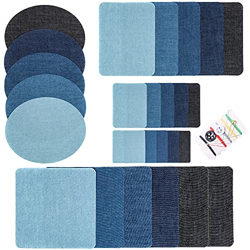 AXEN 26 Pieces Iron On Denim Patches for Clothing and DIY Repair Sewing Repair Patches