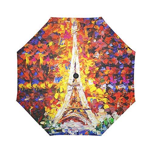 INTERESTPRINT Tower Eiffel Paris Windproof Automatic Open and Close Folding Umbrella, Oil Painting Travel Lightweight Outdoor Umbrella Rain and Sun (Tower Outdoor Eiffel)
