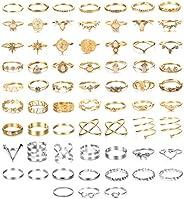 SAILIMUE Juego de 66 anillos para mujer, estilo bohemio, anillos de dedo apilables vintage, anillos de dedo me