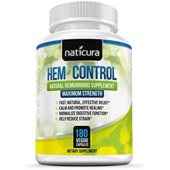 Hem-Control Natural Hemorrhoid Treatment Supplement - Fast & Lasting Pain Relief Pills - 180 Vegan Capsules for Hemroid & Colon Health with Blond Psyllium ...