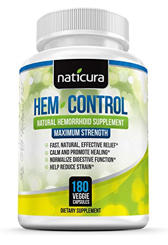 Hem-Control Natural Hemorrhoid Treatment Supplement - Fast & Lasting Pain Relief Pills - 180 Vegan Capsules for Hemroid & Colon Health with Blond Psyllium Husk ()