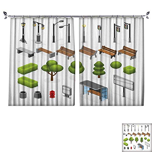 PRUNUS Decorative Curtains has Hook isometri City Street Outdoor Objects Set Green Tree signboar Structure Machine Washable for Easy Care,W63 xL45 from PRUNUS
