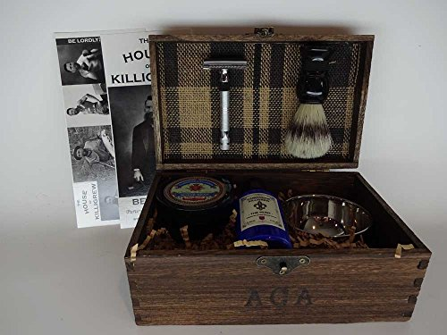 Gentlemen's Old World Shaving Kit - (Herringbone, The Hunt) unique mens gifts mens anniversary gifts for men christmas shaving gifts by Cardinham | Killigrew