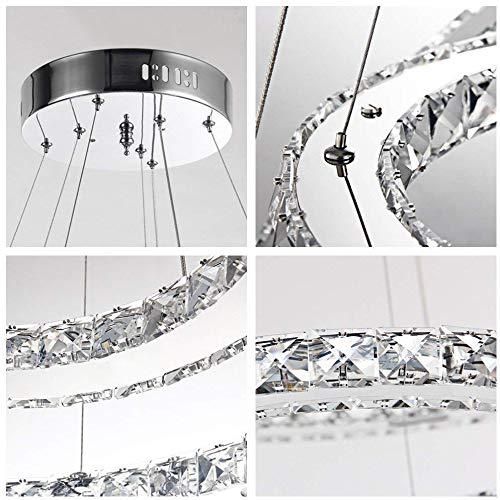 DiLiBee Lampada a sospensione a LED in cristallo 72W 3 Lampada a sospensione a soffitto dimmerabile ad anello 3 Lampadario Soggiorno in cristallo Lampada a sospensione a sospensione design fienile