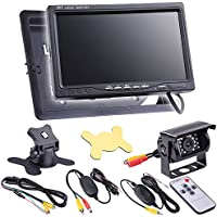Yescom 12V Car Rear View Reverse Backup Waterproof Camera+7 TFT LCD Monitor+Wireless Remote Kit DVD Player
