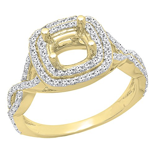 Dazzlingrock Collection 0.50 Carat (ctw) 14K Round Diamond Semi Mount Bridal Engagement Ring 1/2 CT, Yellow Gold, Size 5