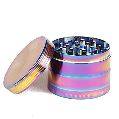 Rainbow Herb Grinders 4 Pieces 50MM/ 1.97 Inch Metal Zinc Alloy Tobacco Grinder Spice Grinder Colorful Metal Grinder by Crazyteam