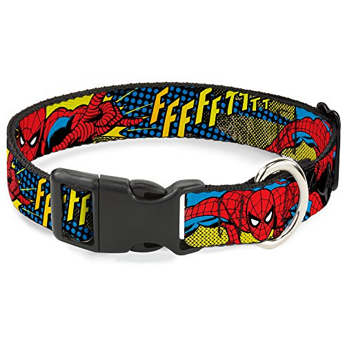 "Buckle-Down Marvel Comics  Spiderman Ffffftttt Plastic Clip Collar, Medium/11-17"""