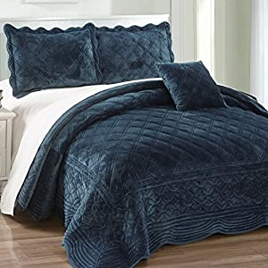 Serenta Super Soft Microplush Quilted 4 PCs Bedspread Set. Queen, Blue Sapphire