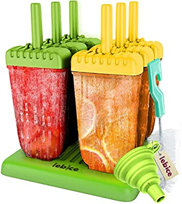 Popsicle Molds Set - Bpa Free - 6 Ice Pop Makers, Silicone Funnel, Cleaning Brush, Ice Cream Recipes E-book - by Lebice