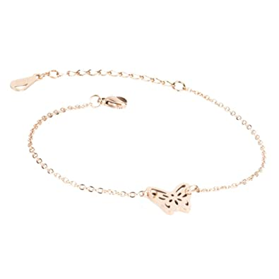 f1df444c1 Amazon.com  WDSHOW Ankle Bracelet for Women Girls Butterfly Anklets Foot  Jewelry Barefoot Sandals Rose Gold-Tone  Jewelry