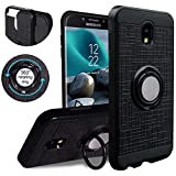 Compatible for Samsung Galaxy J3 2018,J3V J3 V 3rd Gen,Express Prime 3, J3 Star, J3 Achieve, Amp Prime 3 Case,KACHEN 360 Degree Rotating Ring Grip Kickstand Case, Black