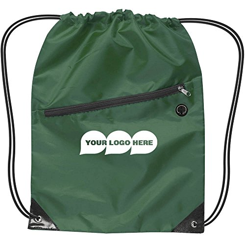 CloseoutPromo Drawstring Backpack W/Zipper - 150 Quantity - $2.55 Each - PROMOTIONAL PRODUCT/BULK/BRANDED with YOUR LOGO/CUSTOMIZED. Size: 17'' H x 13'' W by CloseoutPromo