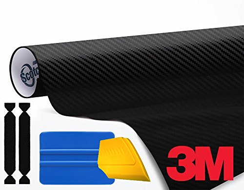 3M 1080 Carbon Fibre Black Air-Release Vinyl Wrap Roll Including Toolkit (4ft x 5ft) 4' Tip Carbon Fiber