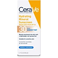 CeraVe Tinted Sunscreen with SPF 30 | Hydrating Mineral Sunscreen With Zinc Oxide & Titanium Dioxide | Sheer Tint for…