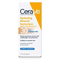 CeraVe Tinted Sunscreen with SPF 30 | Hydrating Mineral Sunscreen With Zinc Oxide & Titanium Dioxide | Sheer Tint for Healthy Glow | 1.7 Fluid Ounce | Packaging May Vary