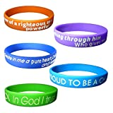 5 Packs Christian Religious Bible Verse Silicone Wristband Gospel Scripture Faith Bracelets Unisex Size for Teens Adult Men Women 8'' Around (A)