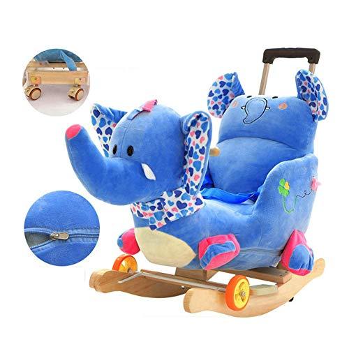 ZLMI Baby Rocking Chair,Kid Animal Rocking Horse Plush Baby Wooden Rocker Children Kids Rocker Chair Toys with Seat Toddlers Toy Gift,Blue