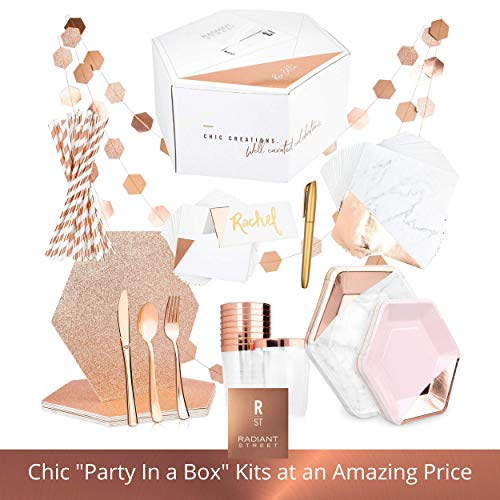 Rose Gold Party Supplies - One of a Kind Party in a Box for 10 Guests - Chic 122 Piece Kit Includes Placemats, Paper Plates, Straws, Napkins, Plastic Cups, Silverware, Name Cards, Decorations & More -