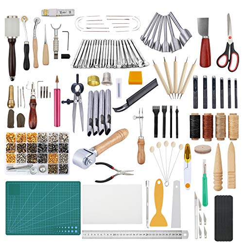 366 Pieces Leather Crafting Tools Kit, Dorhui Leather Working Tools and Supplies, Leather Craft Stamping Tools, Prong Punch, Hole Hollow Punch, Matting Cut for DIY Leather ()