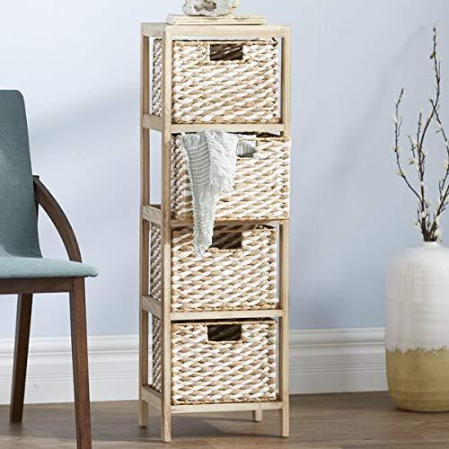 Wood Frame Storage Drawer - 4 Drawer Storage Chest with Paper Rope Wicker Baskets- - Wicker Drawer 4 Chest