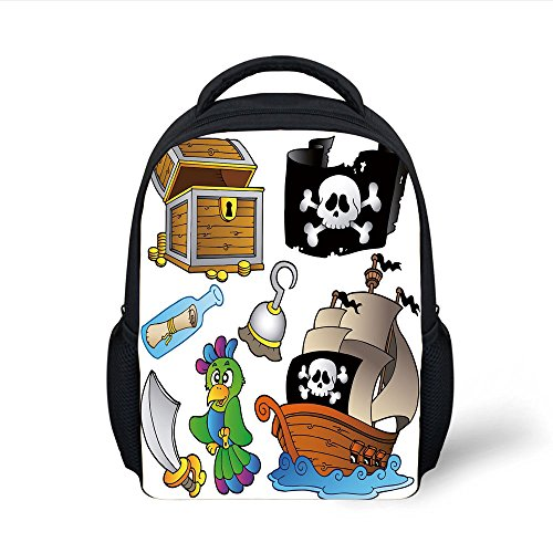 (iPrint Kids School Backpack Pirate,Pirate Themed Collection Treasure Chest Jolly Roger Flag Ship Cutlass Parrot Cartoon,Multicolor Plain Bookbag Travel Daypack)
