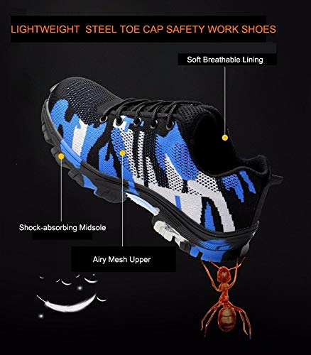 f8fc6646adab7 Tongzone Steel Toe Shoes Work Safety Shoes Athletic Breathable Mesh  Industrial and Construction Puncture Proof Footwear