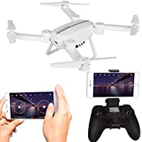 Foldable RC Drone with 720P HD Camera 2.4GHz Quadcopter with Altitude Hold FPV Drone with APP Control (2 batteries)