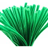 Caryko Super Fuzzy Chenille Stems Pipe Cleaners, Pack of 100 (Green)
